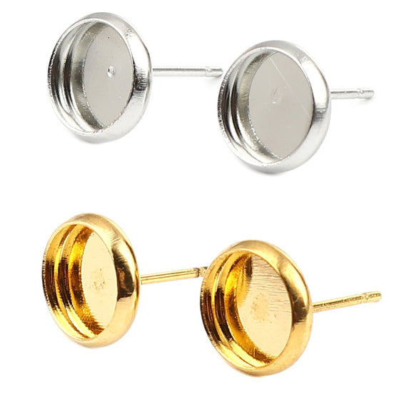 Packs of 30 x 8mm Earring Cabochon Settings in Silver or Gold