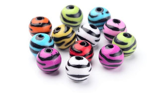 12mm Colour Zebra Beads