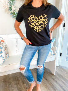 Leopard Heart Tee - El and Ember Boutique