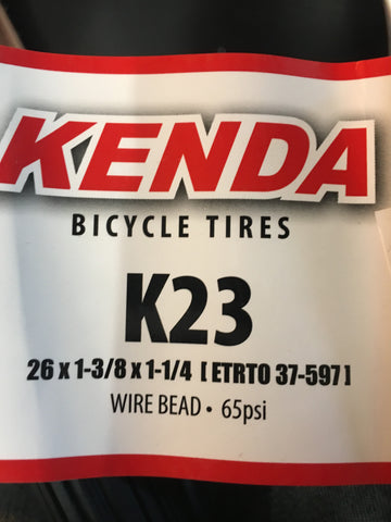 "Kends K23 26x1-1/4 x 1-3/8"" S-6 TIRE WHITEWALL/BLACK"