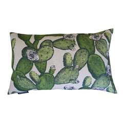 'Cactus' Cushion - Leaf Green on Natural Linen