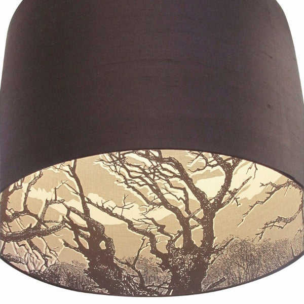 Inside Out 'Tree' Lampshade - White/Chocolate on Linen with Chocolate Silk