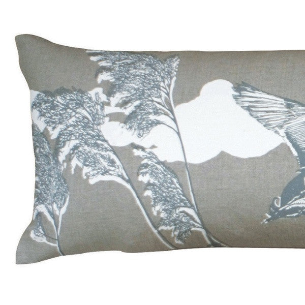 'Flying Ducks' Bolster - Off-White/French Grey on Natural Linen
