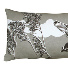 'Flying Ducks' Bolster - Off-White/Chocolate on Natural Linen