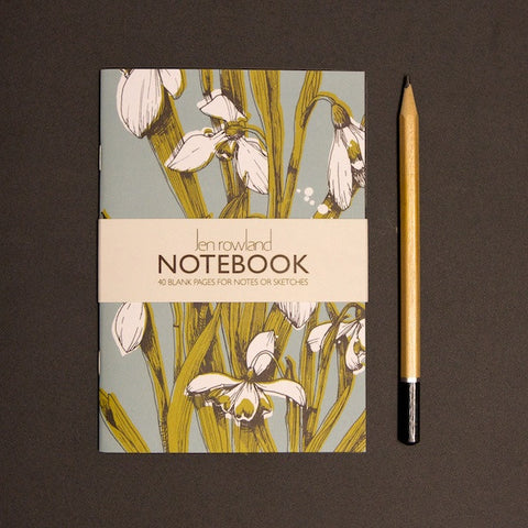 Snowdrops A6 Notebook  - Duck Egg
