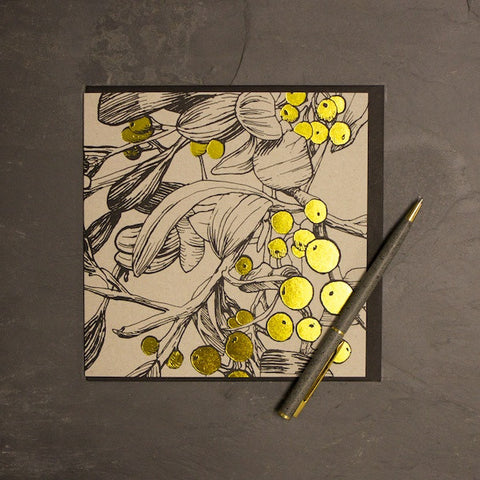 'Golden Mistletoe' Greetings Card
