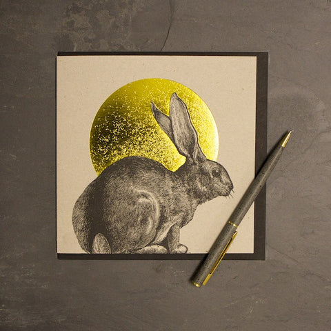 Rabbit & Sun Foiled Greetings Card