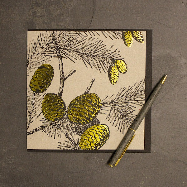 'Golden Fir Cone' Greetings Card