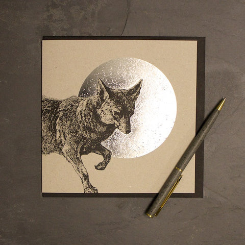 Fox & Moon Foiled Greetings Card