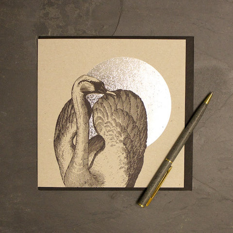 Swan & Moon Foiled Greetings Card