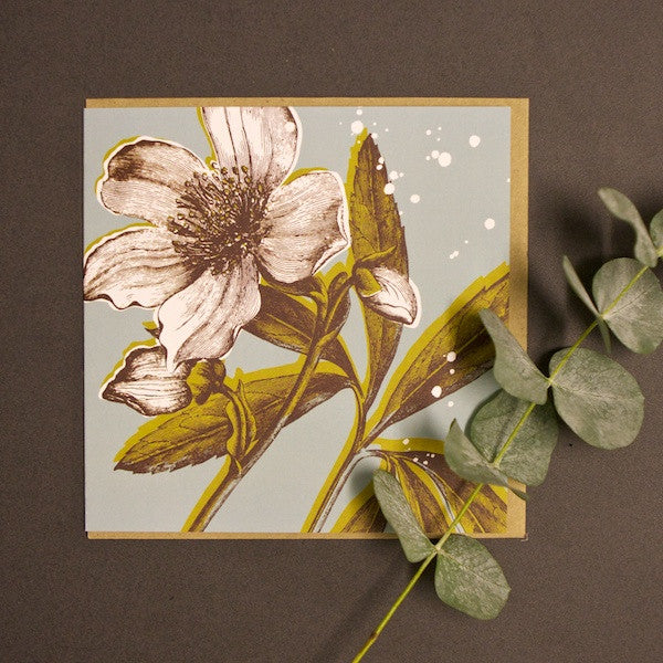 'Hellebore - Duck Egg' Greetings Card