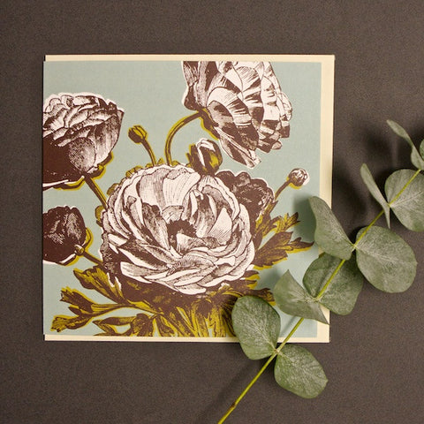 'Ranunculus - Duck Egg' Greetings Card