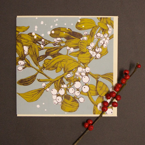 'Bright Mistletoe' Greetings Card