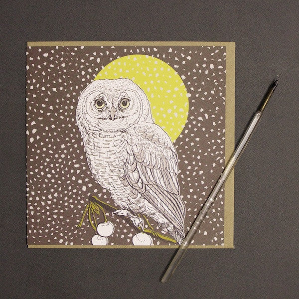 'Owl - Nighttime' Greetings Card