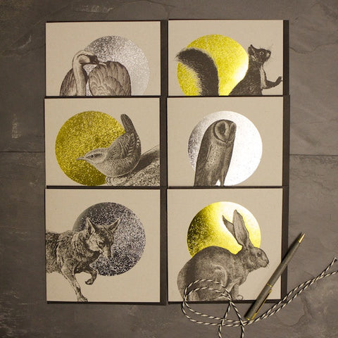 Set of 6 Foiled Woodland Animals Cards