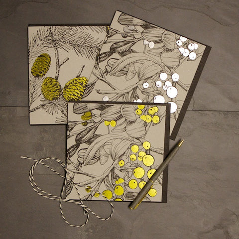 Set of 3 Foiled Seasonal Botanical Cards