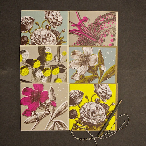 Set of 6 Bright Botanical Cards