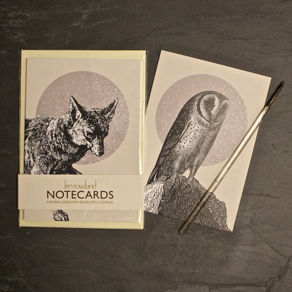 Set of 6 Notecards - Owl & Fox