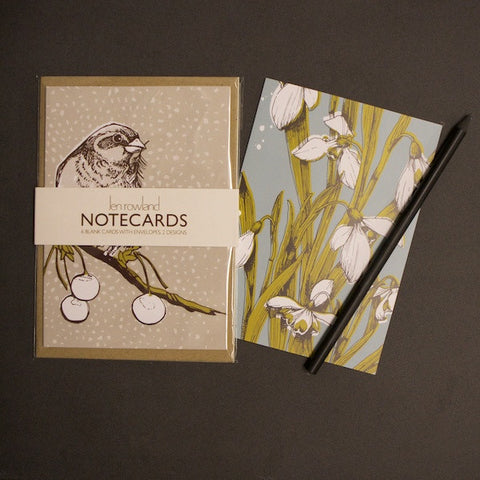 Set of 6 Notecards - Snowdrops & Bird with Berries