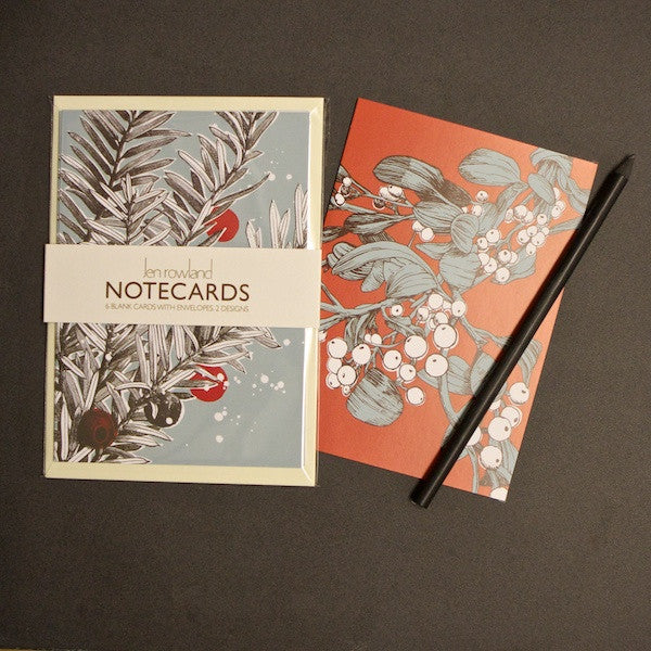 Set of 6 Notecards - Mistletoe & Yew