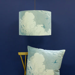 'Sky' Lampshade - Aqua on Cream Linen