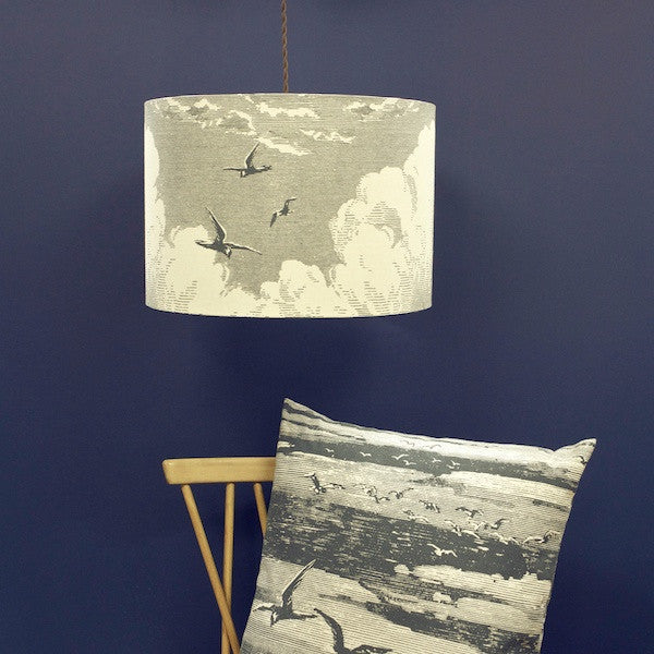 'Sky' Lampshade - Slate on Cream Linen