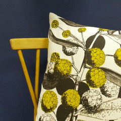 'Acacia' Cushion - Mustard on Off-White Linen