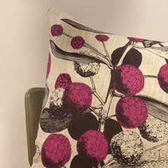 'Acacia' Cushion - Pink/Plum on Natural Linen