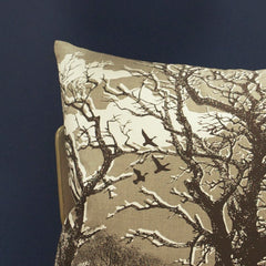 'Trees' Cushion - Off-White/Chocolate on Natural Linen