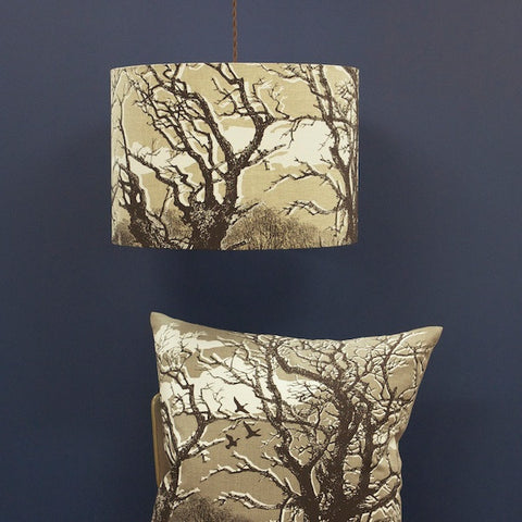 'Trees' Lampshade - Off-White on Natural Linen