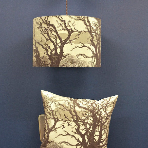 'Trees' Lampshade - Stone/Chocolate on Pebble Silk