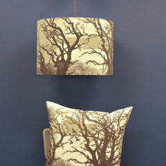 'Trees' Cushion - Stone/Chocolate on Pebble Silk