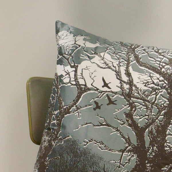 'Trees' Cushion - Off-White/Chocolate on Duck Egg Silk
