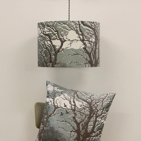 'Trees' Lampshade - Off-White/Chocolate on Duck Egg Silk