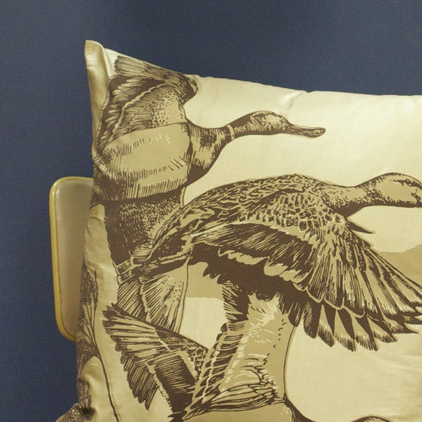 'Flying Ducks' Cushion - Stone/Chocolate on Pebble Silk