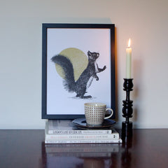 Squirrel & Sun Print