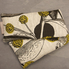 Heatable Wheat & Lavender Bag - Mustard Acacia on Natural Linen