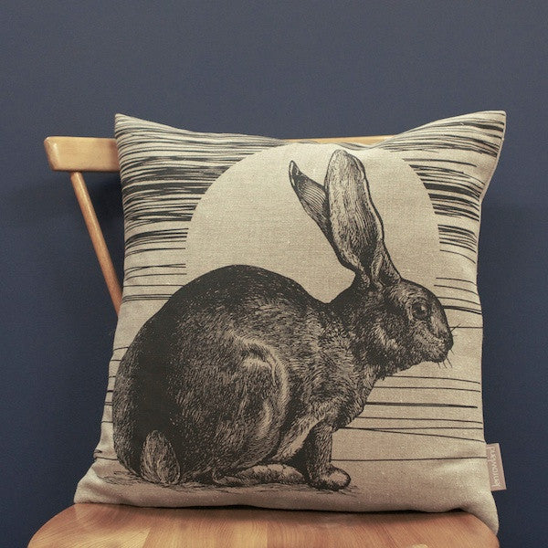 Rabbit & Sun Cushion - Ebony Black
