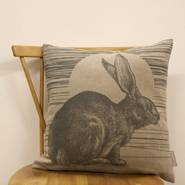 Rabbit & Sun Cushion - French Grey