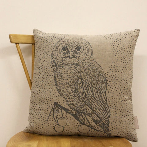 Owl & Moon Cushion - French Grey