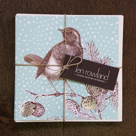 Set of 6 Foiled Robin Cards