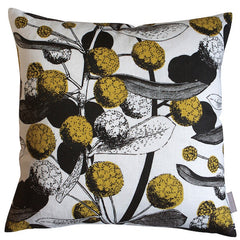 Handprinted Mustard Chocolate Acacia Linen Cushion