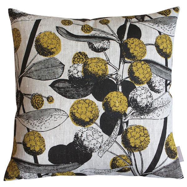 'Acacia' Cushion - Mustard/Chocolate on Natural Linen