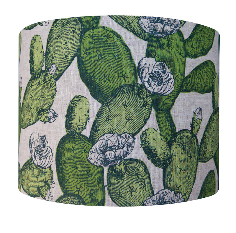 'Cactus' Lampshade - Leaf Green on Natural Linen