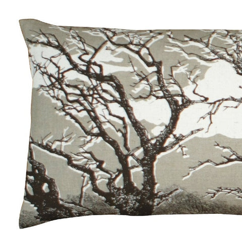 'Trees' Bolster - Off-White/Chocolate on Natural Linen