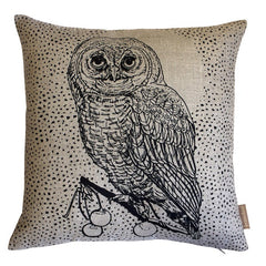 Owl & Moon Cushion - Ebony Black