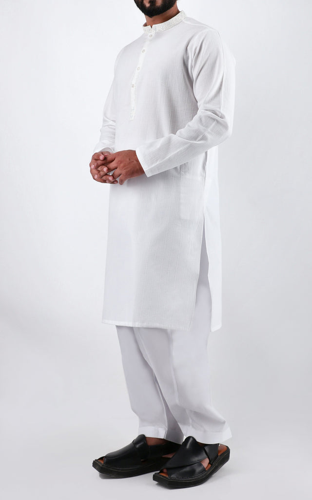 Embroidered-White Texured