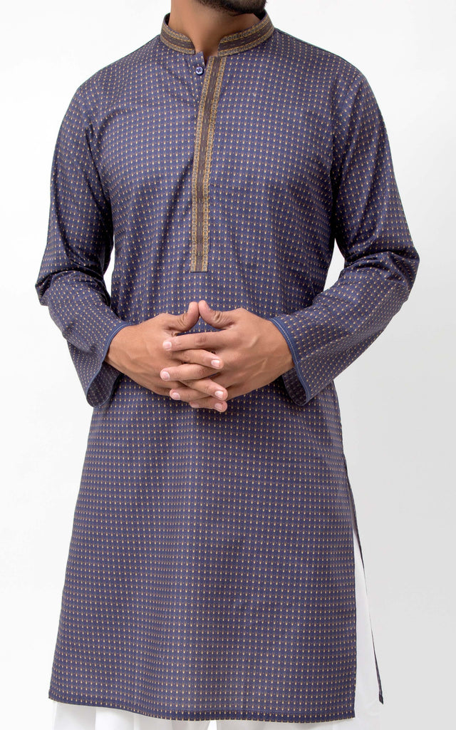 Digital Kurta - Navy Blue