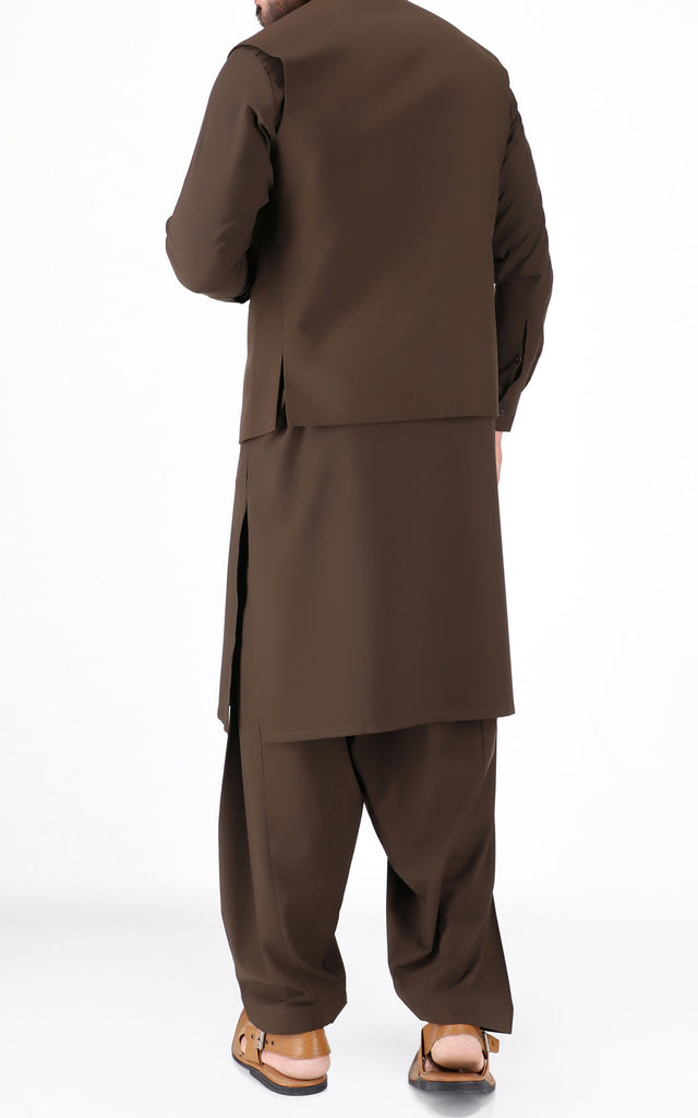 Shalwar Suit With Waist Coat - Brown