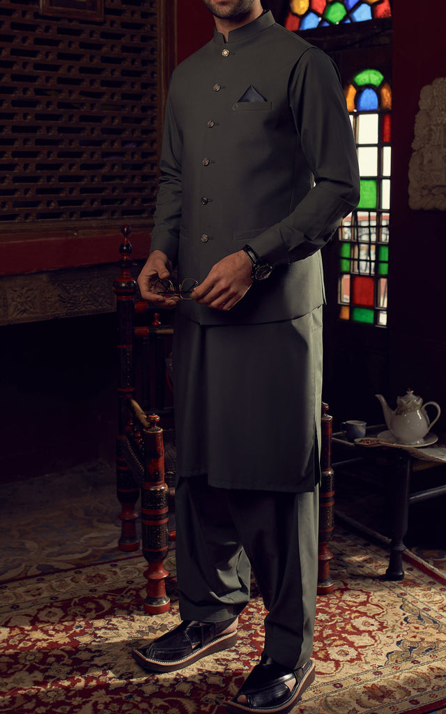 Shalwar Suit With Waist Coat - Green